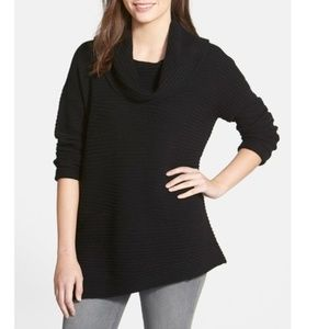 Nordstrom Zigzag Ribbed Cowl Neck Cashmere Sweater